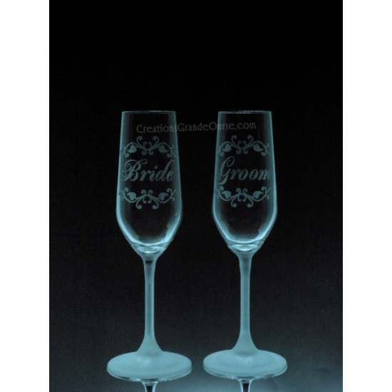 LOV-MA-Bride and Groom pied givré  (bride and groom) -2 verres - prix basé sur verre à vin 20oz