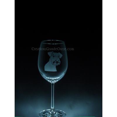 ANI-CK-Chien de race Airdale - 1 verre - prix basé sur verre à vin 20oz