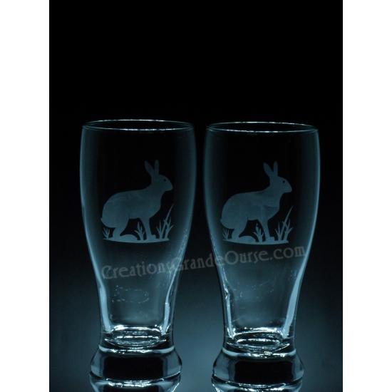 ANI-SW-lièvre- Ensemble de 2 - prix basé sur le verre à vin 20oz